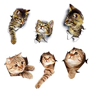 6PCS Cat Sticker for Walls Laptop Cars Fridge Toilet, Bedroom Bathroom Kitchen Animal 3D Wall Decals Decoration, A Fun Cat Emoji Themed for Cat Lovers