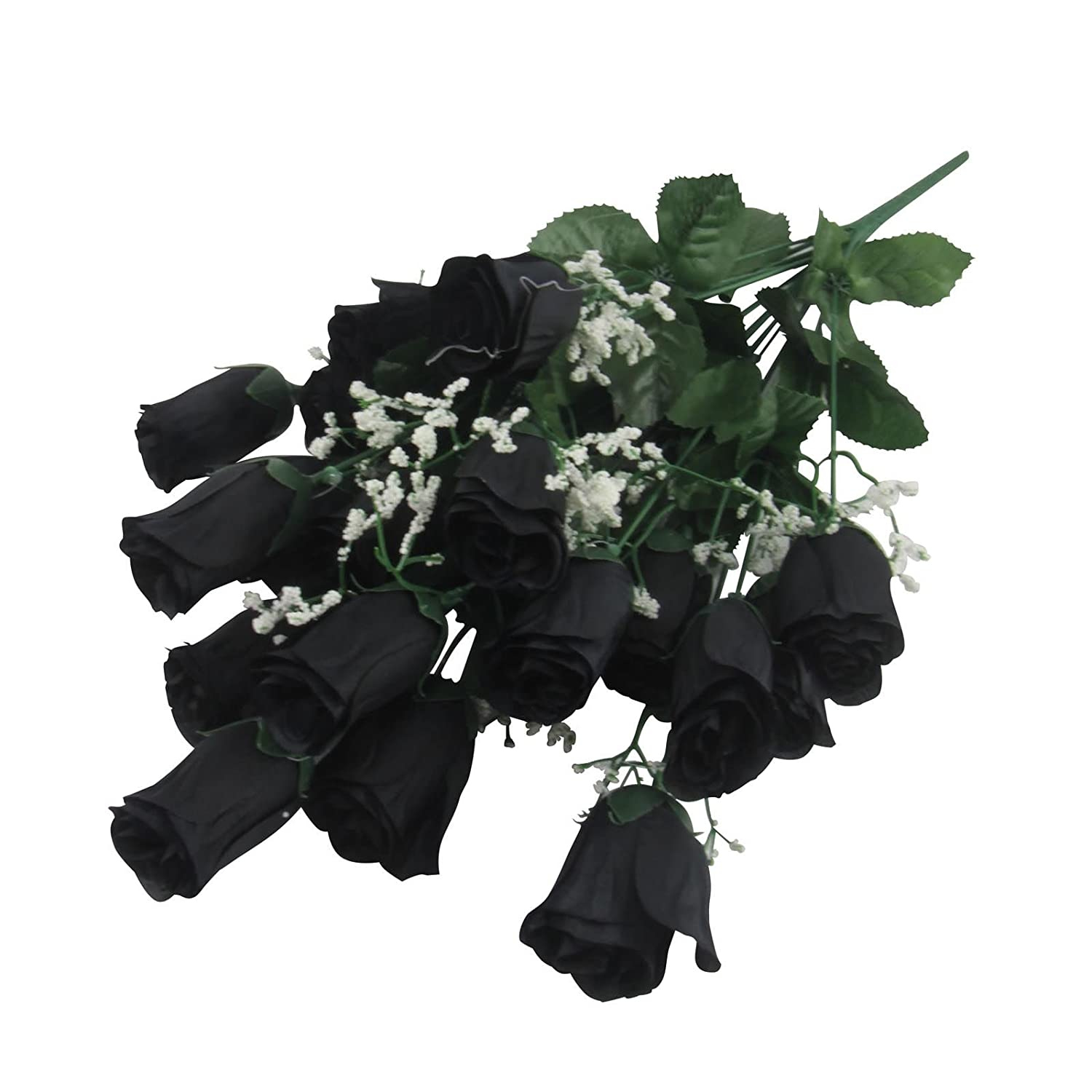 Bihood Artificial Fake Flowers Faux Black Roses Black Roses