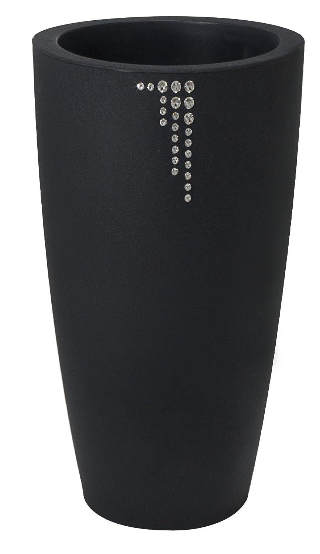Blumentopf / Pflanztopf Nicoli Talos mit original Swarovski Kristallen, Motiv Symbol, Ø33 cm, Höhe 70 cm, anthrazit, matt, 15 l Inhalt, für Innen und Außen, aus hochwertigem Polyethylen