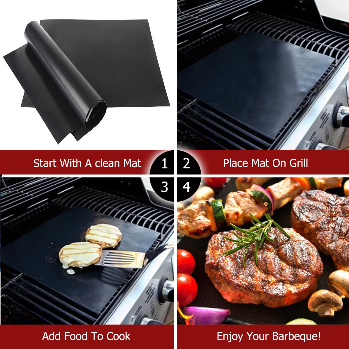 Barbecue mat (Set of 5), Grilldom and Reusable BBQ Grill Mat, Teflon Non-stick 0.2mm, 40x33cm by Grilldom (Image #7)