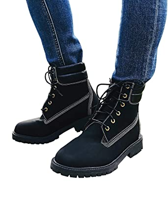 Women s Combat Boots Lace up Low Heel High cut Waterproof Fashion Martens  Winter Ankle Booties c6796b870