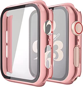 Misxi 2 Pack Hard PC Case with Tempered Glass Screen Protector Compatible with Apple Watch Series 6 SE Series 5 Series 4 44mm, 1 Rose Pink + 1 Transparent
