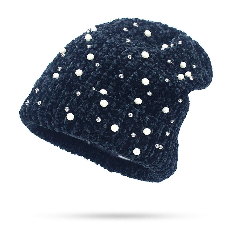 MingDe Sports Winter Womens Beanie Hat Casual Polyester Shine Pearls Rhinestones Beanies Skullies Bonnet