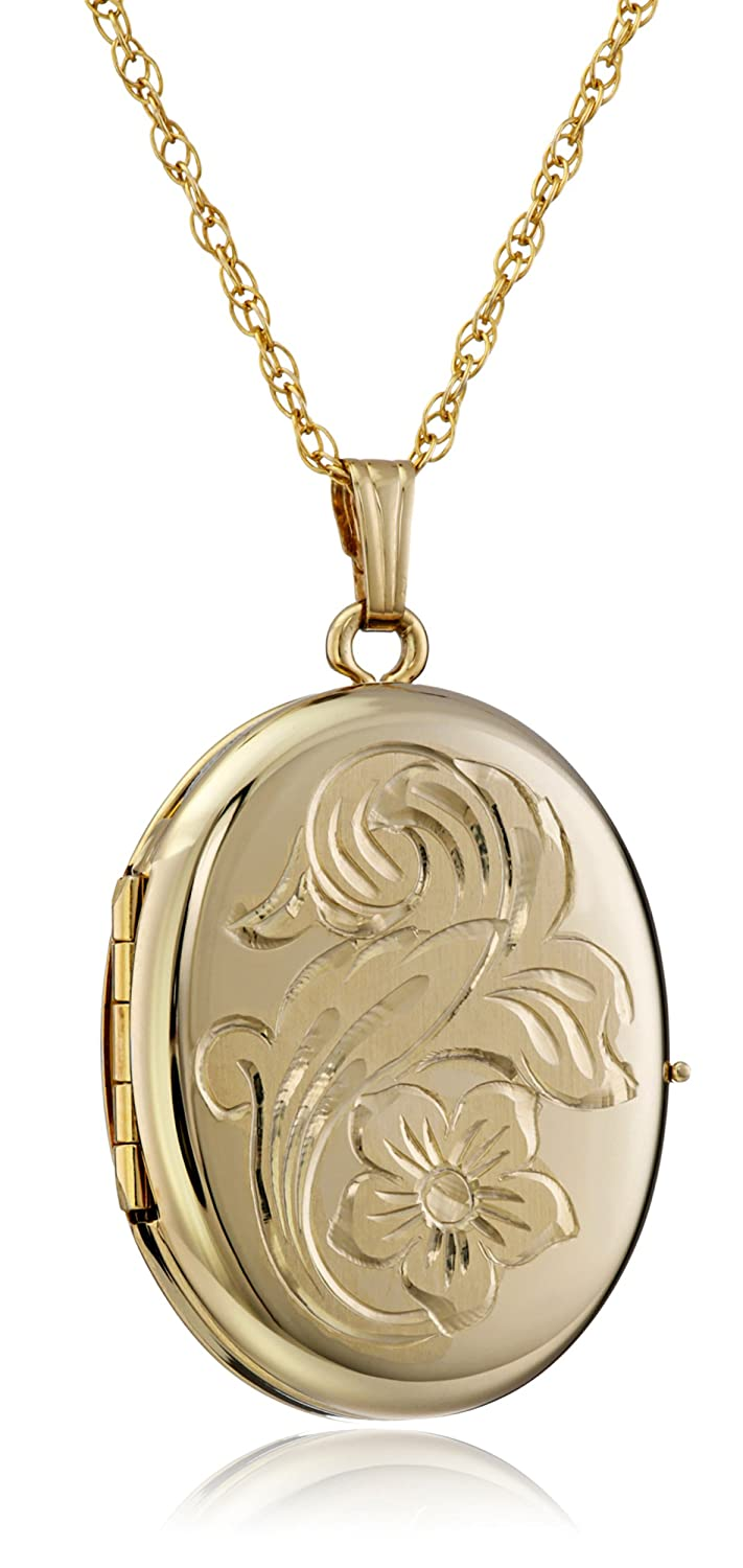 14k Gold-Filled Engraved Flower 4-Picture Oval Locket, 20 20 Amazon Collection AMZ2004F