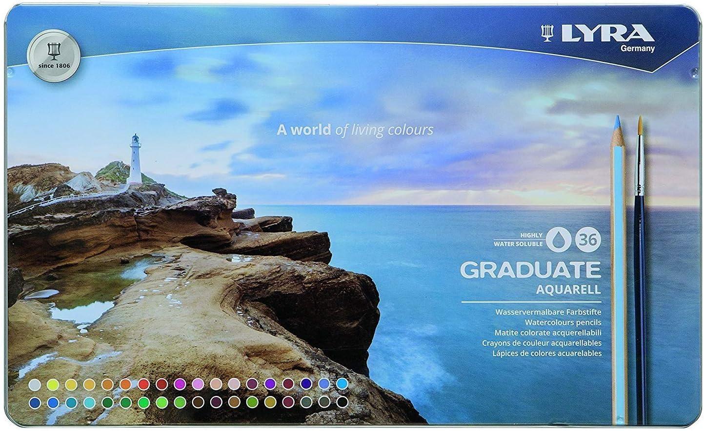 Lyra Graduate Aquarell Colored Pencil Set, Assorted Colors, Set of 36 (2881360)