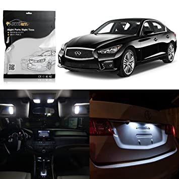 Partsam 2014 2015 Infiniti Q50 White Interior LED Package Kit + Tag Lights  (10 Pieces