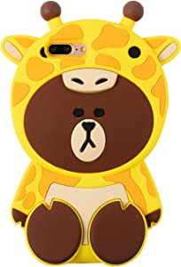 Artbling Case for iPhone 6 Plus 6s +,Silicone 3D Cartoon Animal Cover, Kids Girls Cool Lovely Cute Bear Cases,Kawaii Soft Gel Rubber Unique Character Fashion Protector for iPhone 6Plus(Yellow Giraffe)