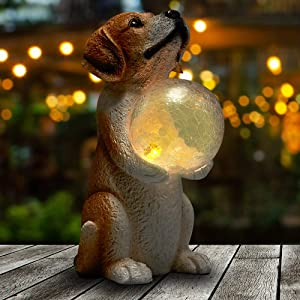 Yiosax Outdoor Garden Décor- Dog Statue Hodding Magic Orb with Solar Lights|Gifts for Dog Lovers|Resin Figurine for Outside| Patio Lawn Yard Art Ornaments(11.22