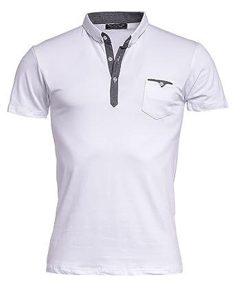 BLZ Jeans Polo Homme Blanc Et Gris Poche Poitrine - Couleur  Blanc - Taille  e036f1f2b785