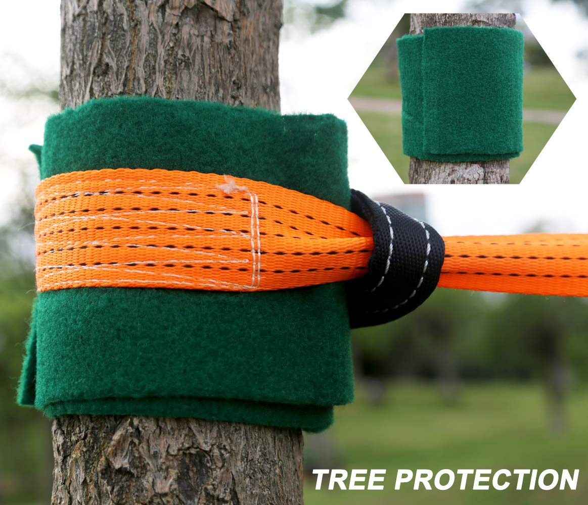 PACKGOUT Slackline, 45' Obstacles Course for Kids Warrior Training Equipment Swing Hanging Monkey Bar Kits, Gifts for Boys and Girls Included Carrying Bag and Tree Protectors by PACKGOUT (Image #4)
