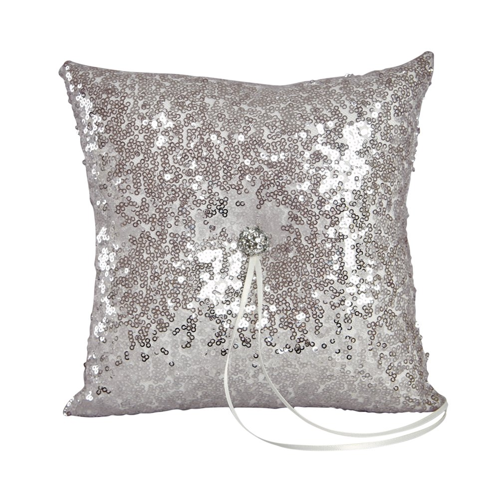 Ivy Lane Design Elsa Shiny Sequin Ring Pillow, Silver