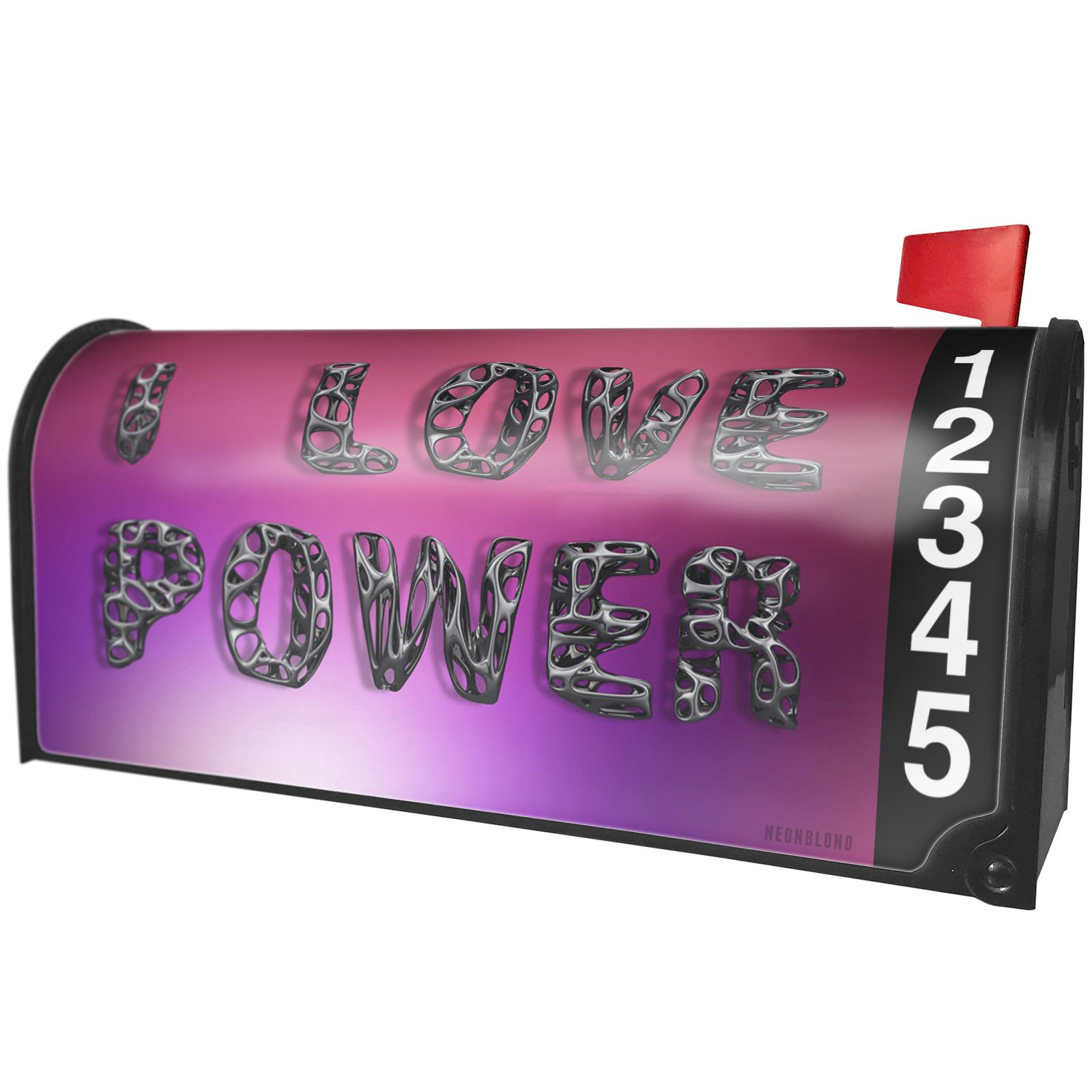 NEONBLOND I Love Power Geometric Shapes Magnetic Mailbox Cover Custom Numbers