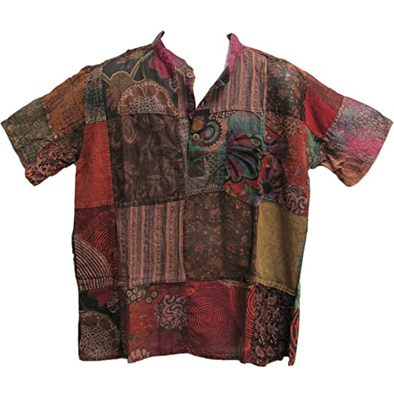 Vintage Shirts – Mens – Retro Shirts Yoga Trendz Mens Indian Vintage Bohemian Hippie Brown Patchwork Short-Sleeved Shirt $29.00 AT vintagedancer.com