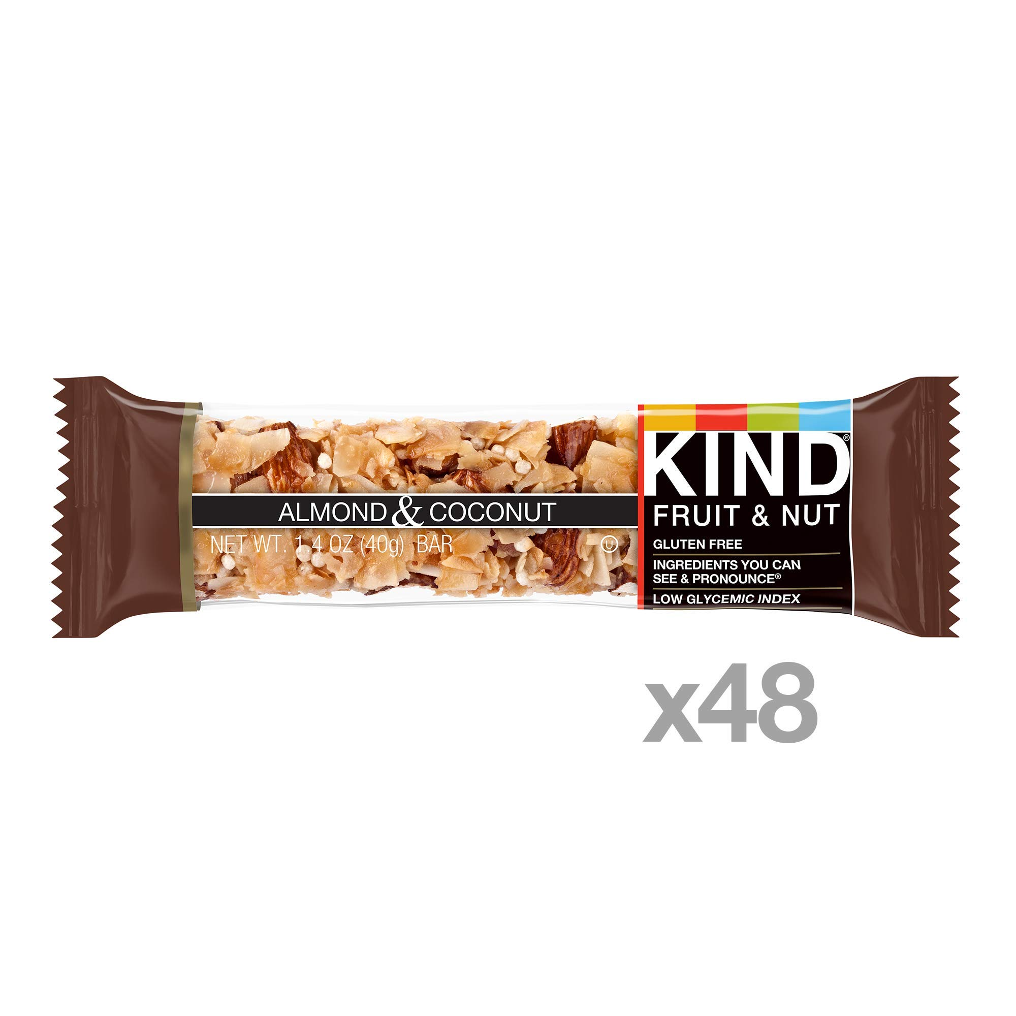KIND Bars, Almond & Coconut, Gluten Free, Low Sugar, 1.4oz, 48 Count by KIND (Image #2)