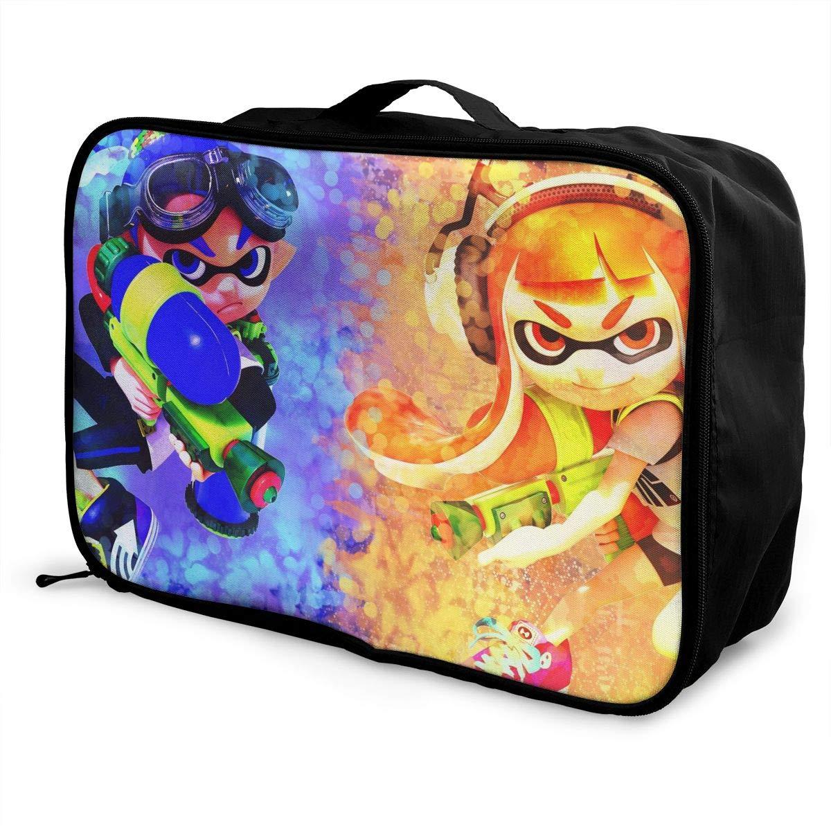 BOKAIKAI1306 Handsome S-Splatoon Unisex Adult Fashion Lightweight Large Capacity Portable Large Travel Duffel Bag Men Woman Luggage Bag 3D Pattern Customized Boarding Box