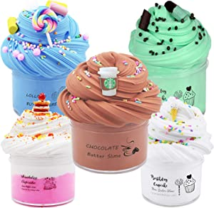 Summerdays 5pack Birthday Cake Theme Butter Slime Kit, Including Cake Slime, Coffee Slime, ice Cream Slime, Mint Chocolate Slime and Candy Slime,Birthday Gifts for Boys and Girl