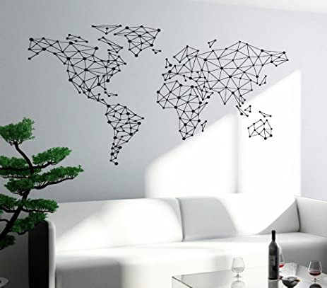 Geometric design world map wall decal home decoration art special world map interior home decor mural
