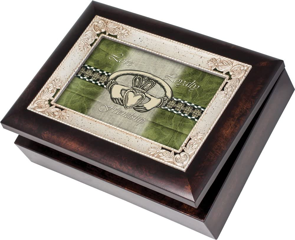 Cottage Garden Love Loyalty Burlwood With Silver Inlay Italian Style Music Box/Jewelry Box Plays Irish Eyes