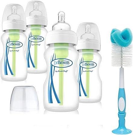 Reducir el riesgo de cólicos con Dr marrón de nuevas opciones Bundle incluye cuello ancho botella 270ml (4unidades) + DR Browns botella y Tetina Cepillo