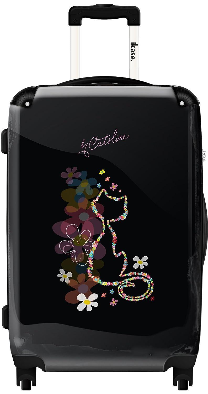 Valise Catsline Chat Noir Fleurs LIC-1795-BLK