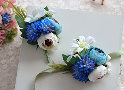 Amazon Silk Flower Boutonniere Corsage Set Artificial Groom