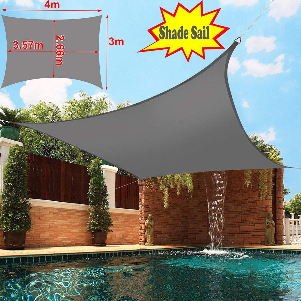 JNCH Garden Sun Shade Sail Canopy Waterproof 98/% UV Block With 4 Ropes 3m x 4m Black