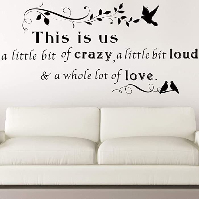 This is Us Crazy Loud Love Wall Stickers Family Lettering Wall Decals Inspirational Saying Stickers for Living Bedroom Home Decorations