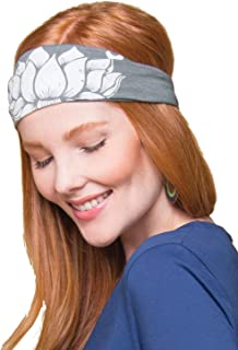 product image for Soul Flower Women's Lotus Recycled Boho Headband, Grey Organic Cotton Stretchy Wide Half Bandeau Accessory