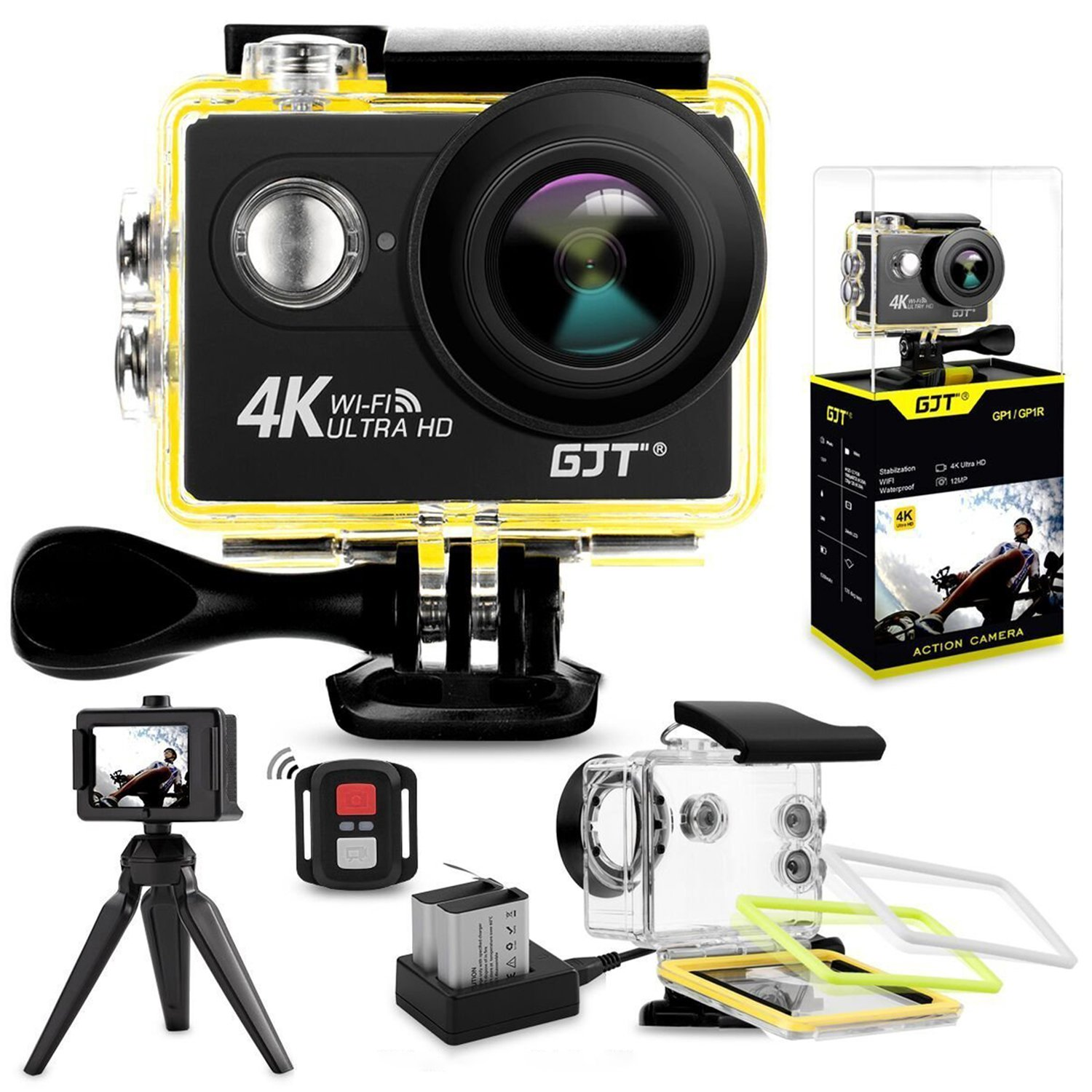 Gjt Gp1r Action Camera 4k Sports Wifi 12mp Gopro Sportcam Non Kamera Ultra Hd 30m Waterproof Dv Camcorder 2 Inch Lcd Screen 170 Degree Wide Angle Lens