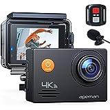 APEMAN A79 - Cámara de acción 4K (20 MP, micrófono externo, control remoto bajo el agua, 40 m), impermeable, cámara…