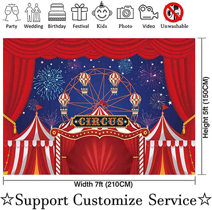 Other Colors Available Vintage Circus Tent Happy Birthday Red /& Blue Vintage Animal Elephant Theme Banner Sign Decorations