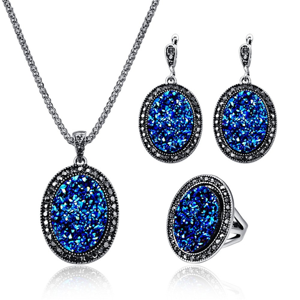 Silver Alloy Oval Broken Rhinestone Women Crystal Necklace, Natural Agate Druzy Pierced Earring Fashion Jewelry Set - Blue+Ring#8