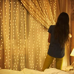 300LED 9.8 x 9.8 ft LED Window Curtain String Lights for Bedroom,Hanging Lights Decor Fairy String Lights,Wall Decor Lights for Girls,Party Birthday Christmas Decorations Lights Warm-Color