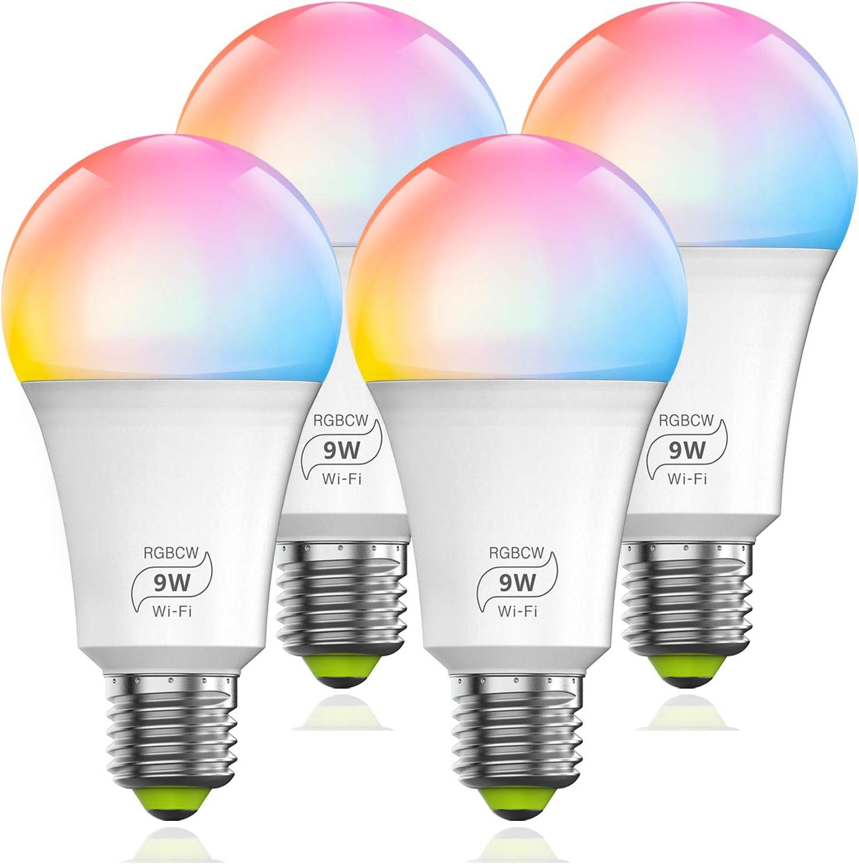Magic Hue Smart WiFi Light Bulb 9W (80w Equivalent), Dimmable Multicolor E26 A19 Smart LED Light Bulb Works with Alexa Google Home Siri (4Pack)