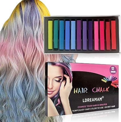 Coloración temporal Cabello, Cabello Tiza, Tinte para el cabello para niños, 12 Colores Temporal Tiza de Pelo dont have Tóxico Lavables Color de Tiza ...