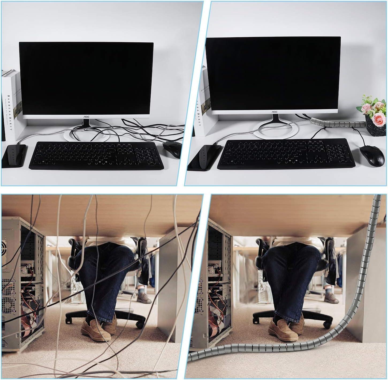 /∅ 28 und /∅22 mm Familie PC Kabelmanagement Kabelschutz oder als Kabelorganizer in Schwarz Flexible Kabelkanal mit einstellbarem Durchmesser f/ür B/üro VoJoPi 2 x 1,5m Kabelschlauch
