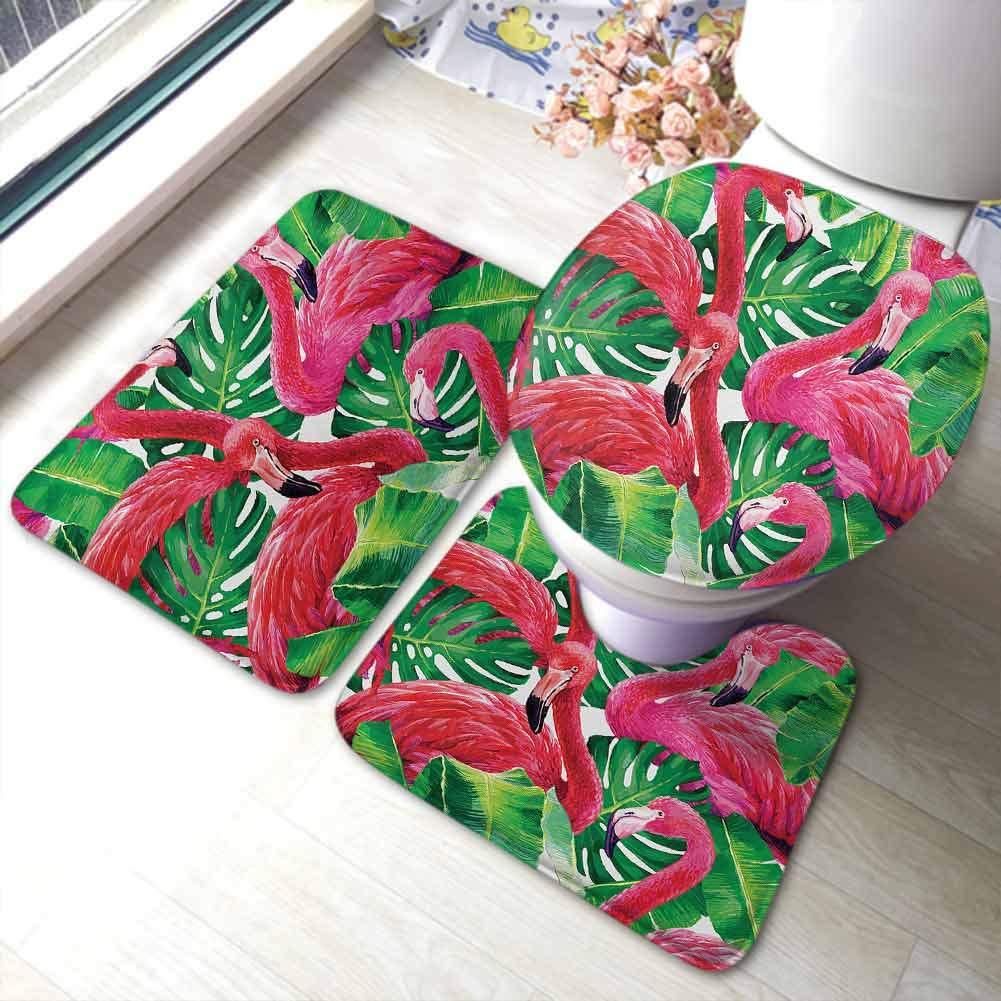 Absorbent Bath Rugs Flamingo,Colorful Love Valentine Flamingos Illustration Retro Circles at Back Funky Print,Multicolor,Non-Slip Modern Carpet Lid Cover U-Shaped Toilet Mat
