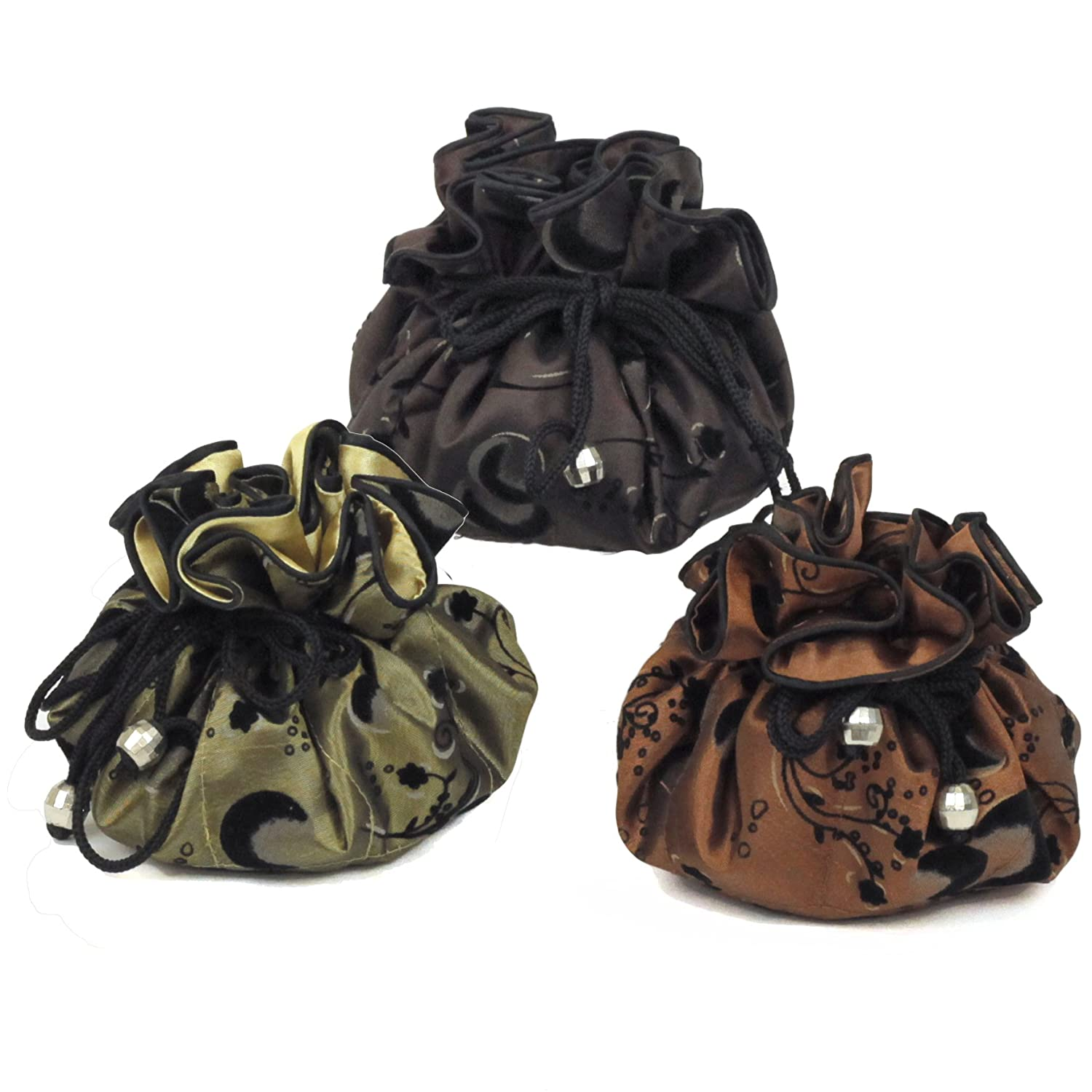 Serena Travel Set of 3 Jewelry Organizer Soft Silky Abstract Floral Print Bucasi PCH120BSET