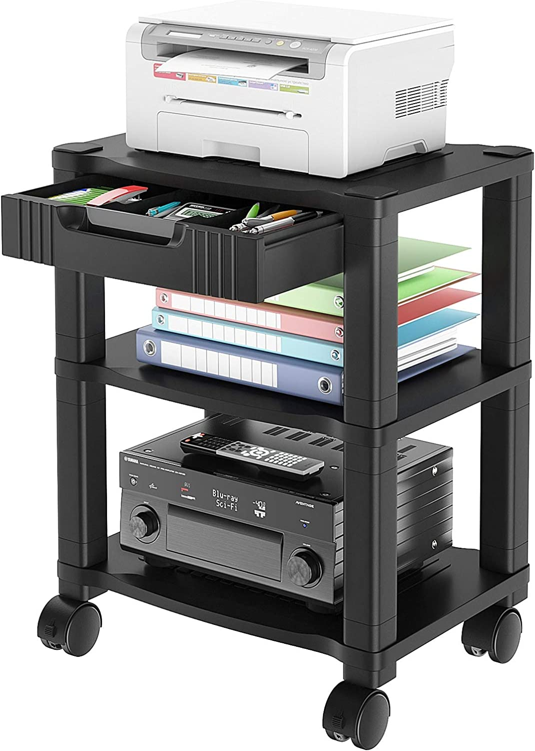 AMERIERGO Printer Stand with Drawer - 3 Tier Height Adjustable Printer Cart, Rolling Printer Stand with 4 Wheels, Mobile Printer Table with Storage Shelf & Cable Management for Printer, Scanner & Fax