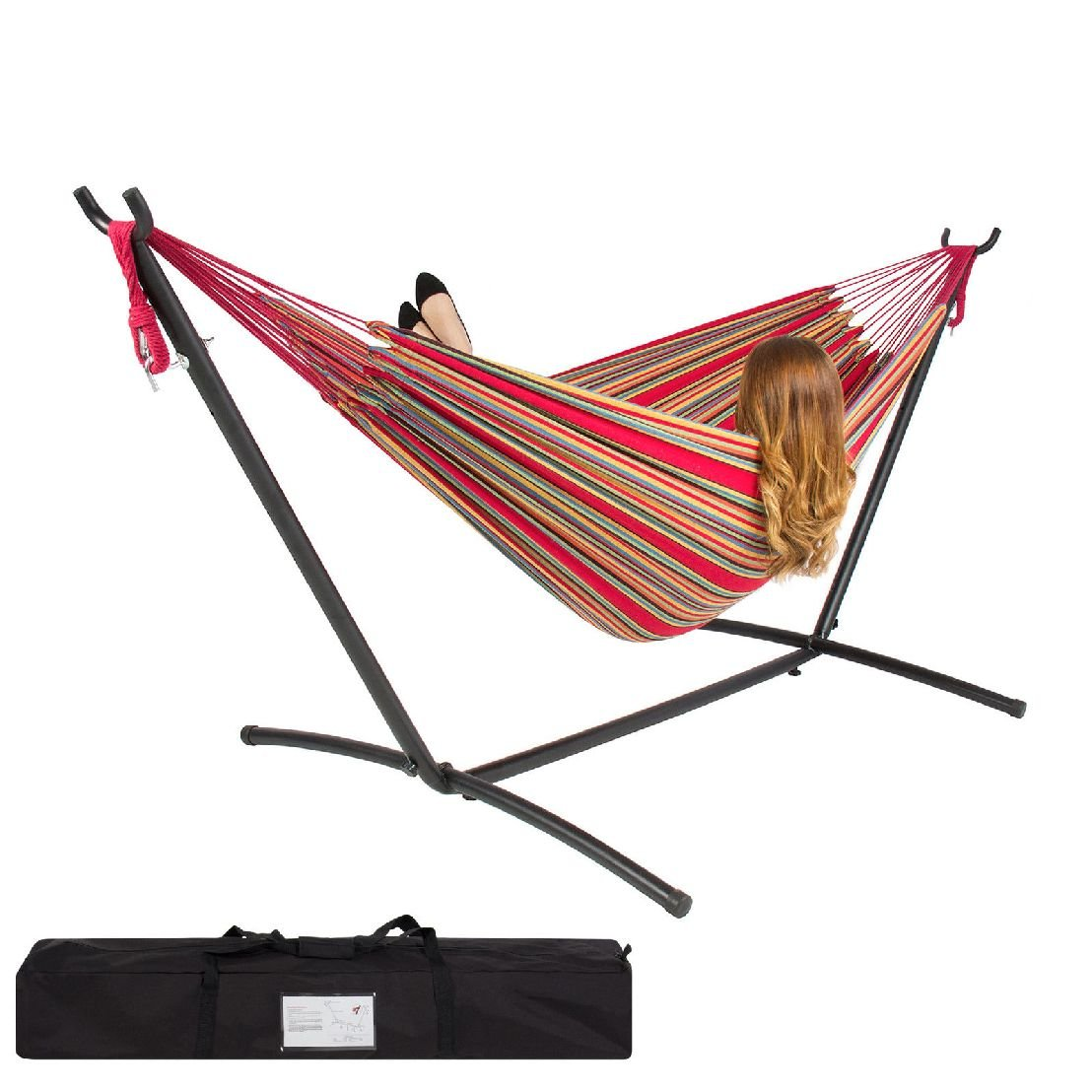 Double Hammock With Space Saving Steel Stand Includes Portable Carrying Case Red