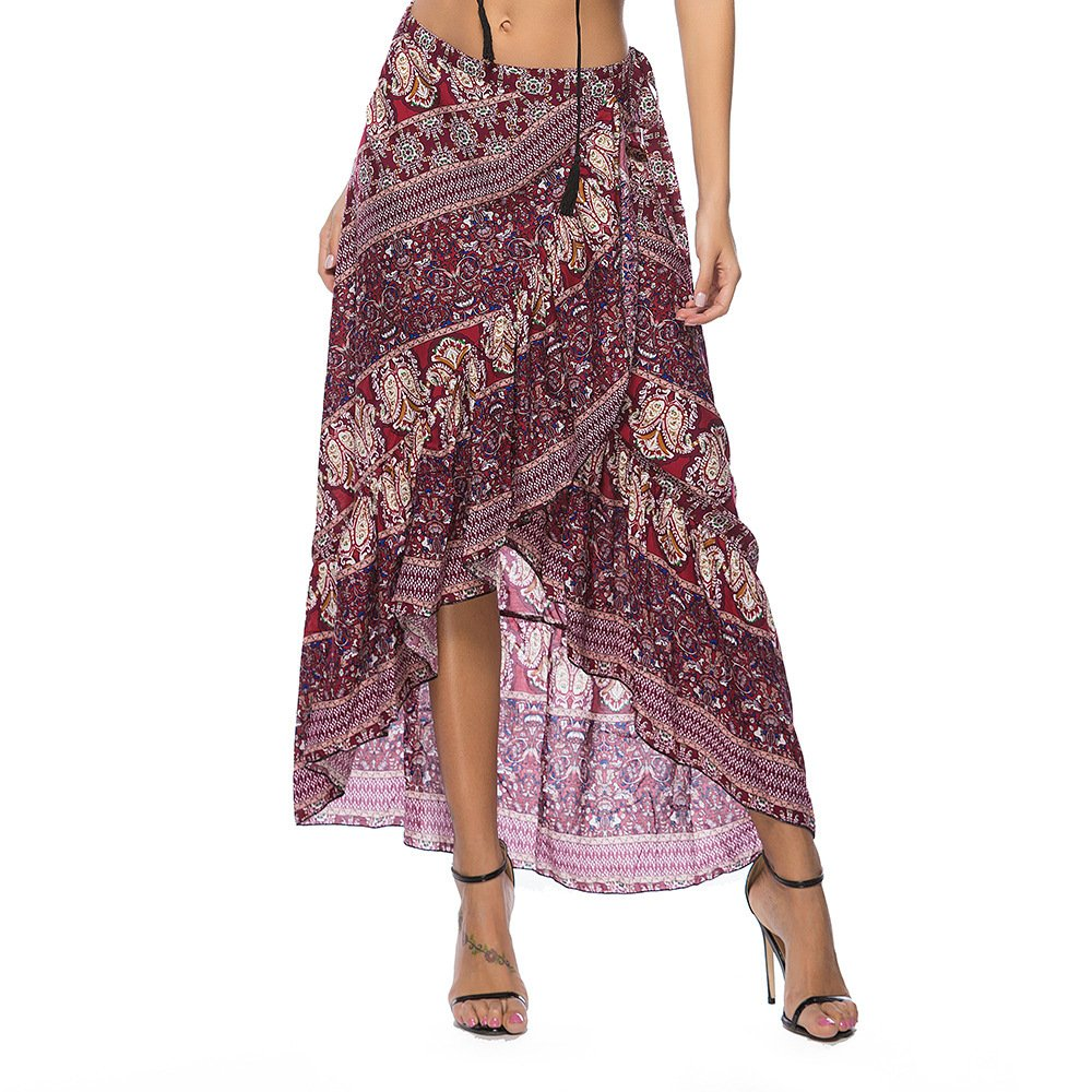 ForeMode Women Boho Print High Waist Side Wrap Split Ruffled Asymmetric Hem Maxi Long Skirt(WineRed)