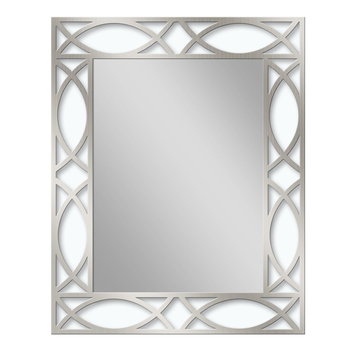 Headwest 8002 Metal Scroll Etched Wall Mirror in BN, Brown