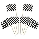 100 Pezzi Bandierina di Corsa a Scacchi Quadrettato Cupcake Bastoncino Stuzzicadenti Bandiera Torta Topper Decorazione