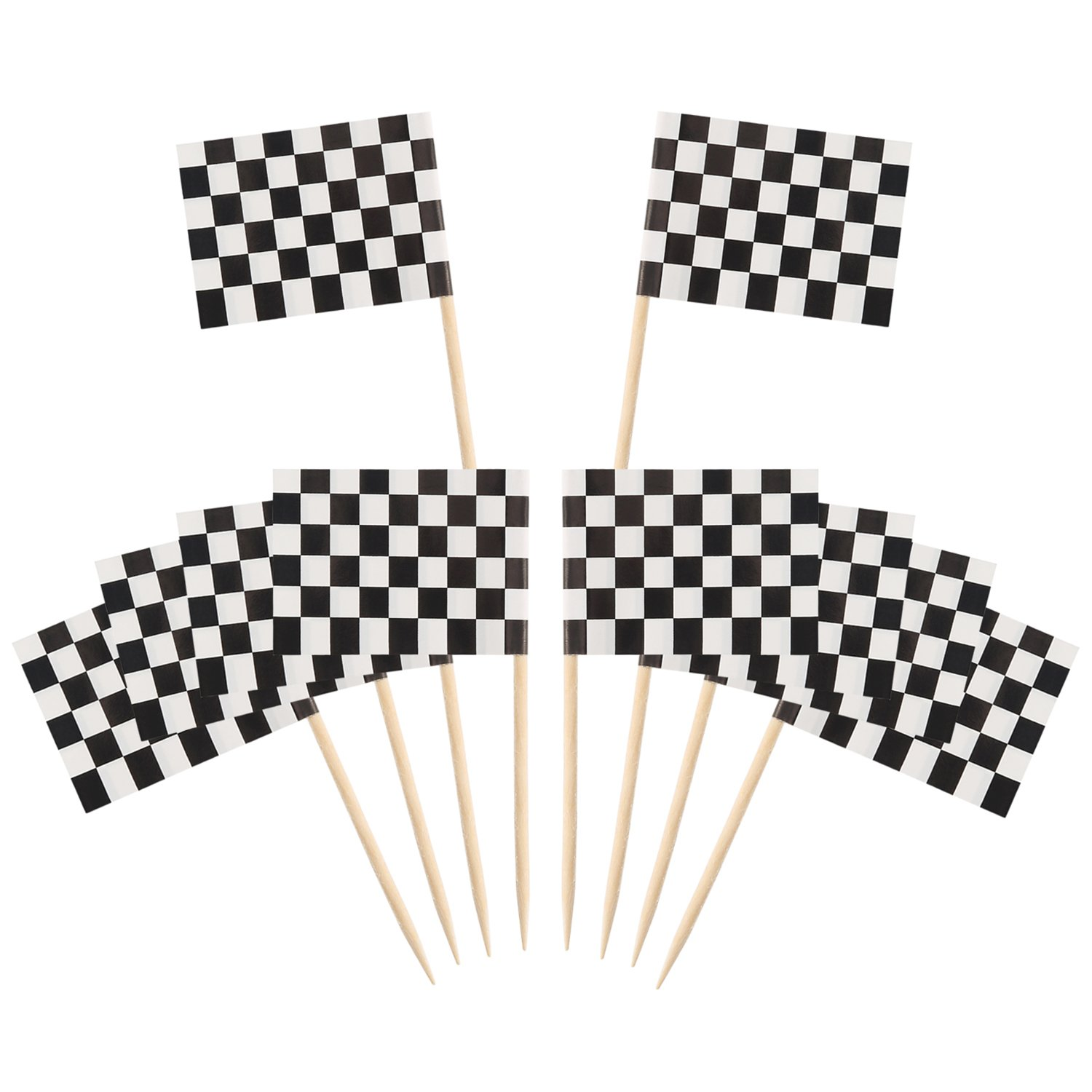 Pangda 100 Pack Checkered Racing Flag Party Cupcake Picks Toothpick Flag Dinner Flags Cake Toppers Decorations