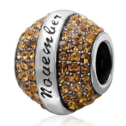 d7769ba07 Amazon.com: Birthstone Charm 925 Sterling Silver November Charm with ...