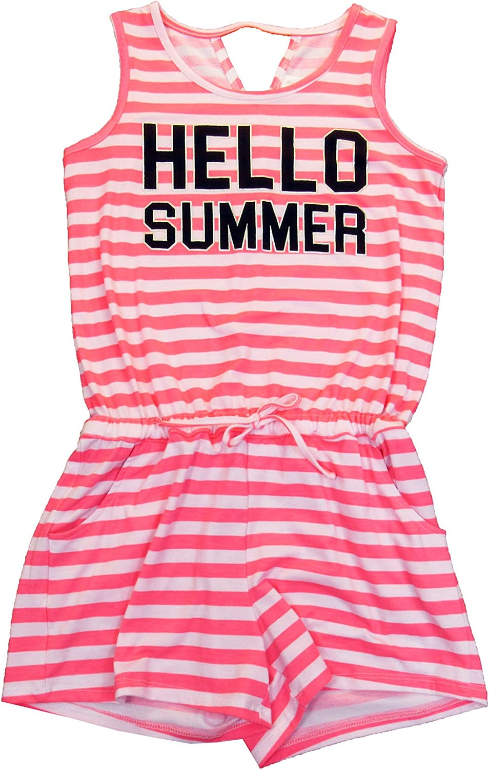 7-16 Ideology Big Girls Graphic-Print Summer Romper Striped