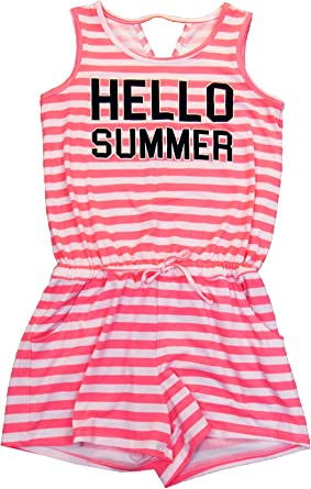 7-16 Graphic-Print Summer Romper Striped Ideology Big Girls