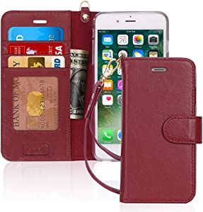 """FYY [Luxury Genuine Leather] Wallet Case for iPhone 6S Plus/iPhone 6 Plus, [Kickstand Feature] Flip Folio Case Cover with[Card Slots] and[Note Pockets] for Apple iPhone 6 Plus/6S Plus (5.5"""") Wine Red"""