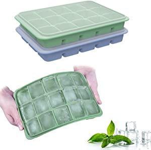 Ozera 2 Pack Ice Cube Trays Food-Grade Silicone Ice Cube Tray with Lid, Reusable Ice Cube Mold of 15 Cavity Ice Cube Trays Silicone for Whiskey Wine Cocktails and DIY Summer Drink.