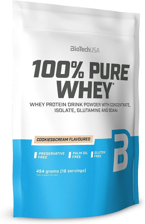BioTechUSA 100% Pure Whey Complejo de proteína de suero, con aminoácidos añadidos y edulcorantes, sin conservantes, 454 g, Cookies & Cream